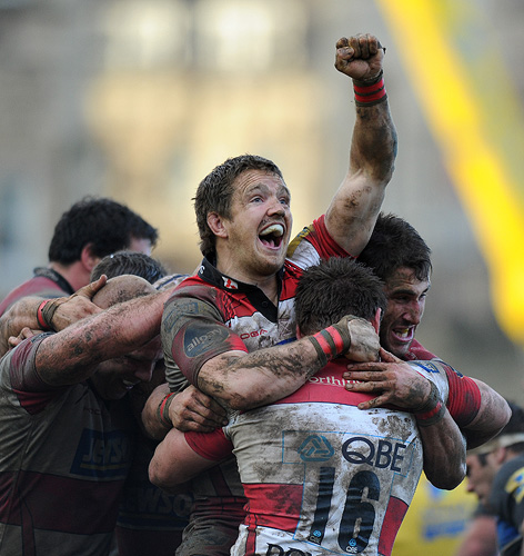 Rory Lawson celebrates a win against Bath