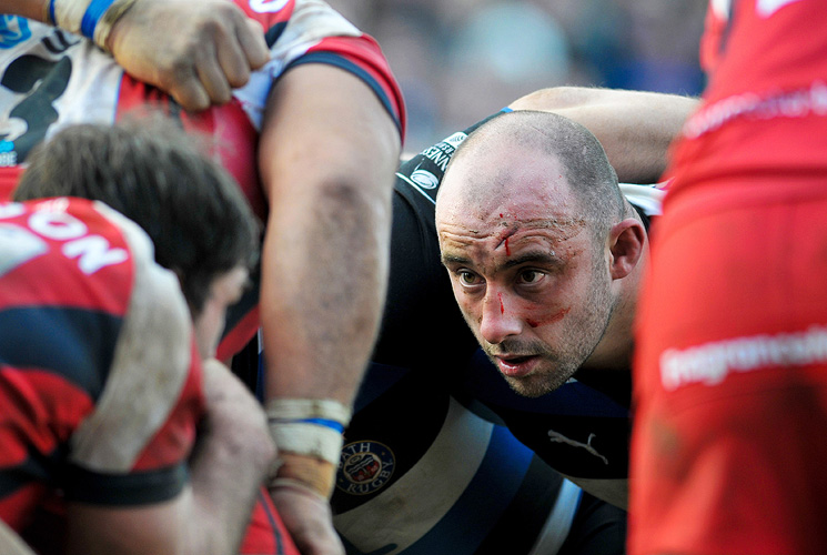 David Flatman prepares to scrummage